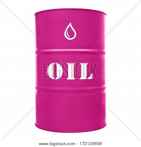 Pink Metal Oil Drum Isolated On White Background. Black Gold. Barrel