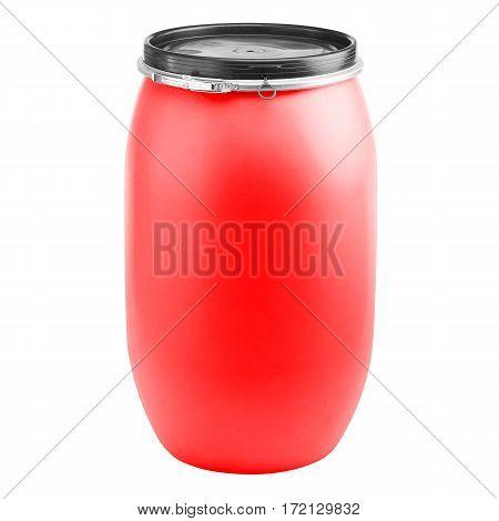Plastic Storage Drum. Big Red Barrel Isolated on White Background