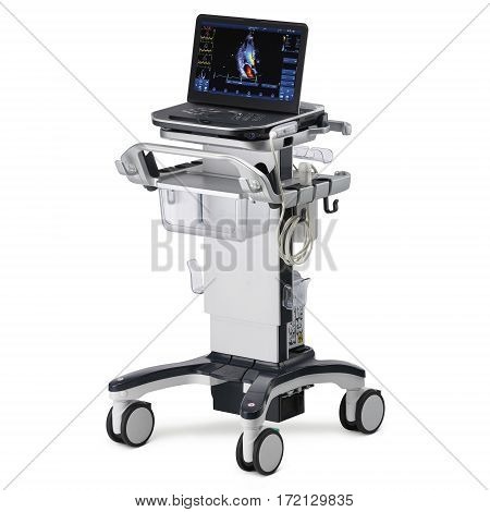 Portable Cardiovascular Ultrasound Machines Isolated on White Background. Medical Diagnostic Equipment. Clipping Path