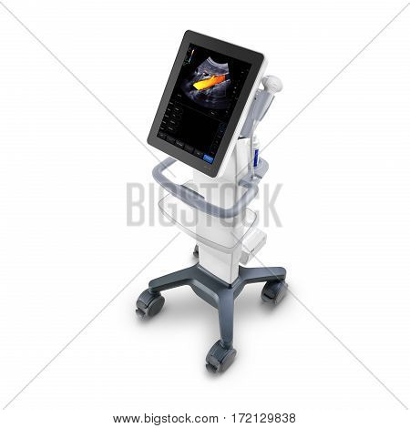Portable Cardiovascular Ultrasound Machines Isolated on White Background. Medical Diagnostic Equipment. Electromagnetic Radiation Equipment. X-rays. Clipping Path
