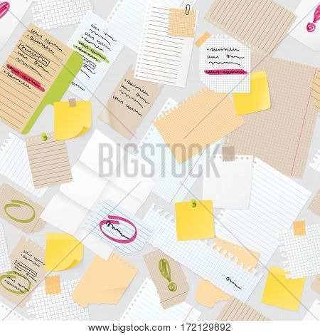 Sticker notes pined on board vector seamless pattern. isolated
