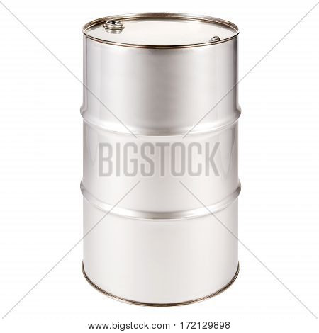 Stainless Steel Oil Barrel Isolated on White Background. Black Gold