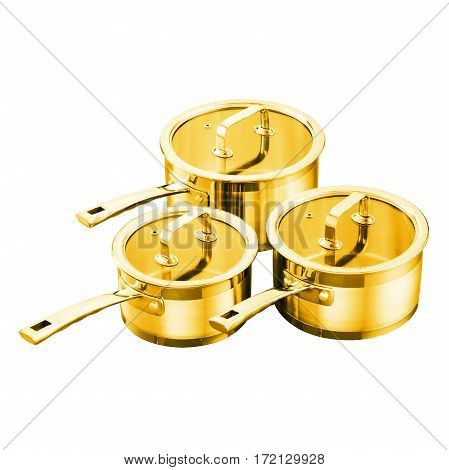 Three Gold Cooking Pots With Glass Lid Isolated On White Background. Cooking Pans