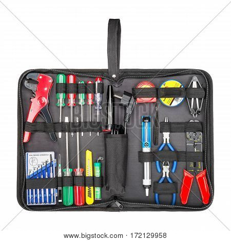 Tool Bag With Molded Base Isolated On White Background. Tool Kit. Tool Box Full Of Tools. Clipping P
