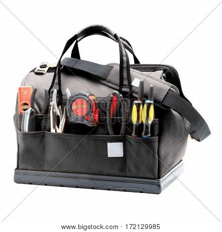 Tool Bag With Molded Base Isolated On White Background. Tool Kit. Tool Box. Clipping Path