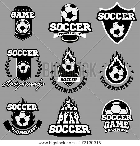Set of vintage soccer or football logo, emblem, badge for team, cup, tournament, championship in shapes of shield , circle, ribbon with decorative element