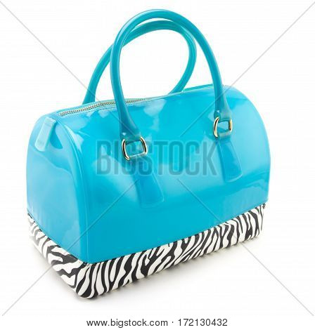 Close up elegant woman bag on white background