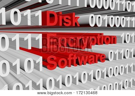 disk encryption software in the form of binary code, 3D illustration