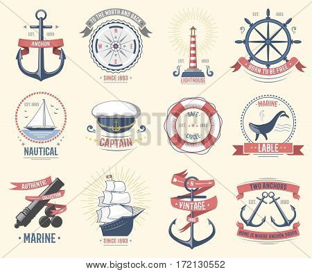 Fashion nautical logo sailing themed label or icon with ship sign anchor rope steering wheel and ribbons travel element graphic badges vector illustration. Style cruise business insignia template.