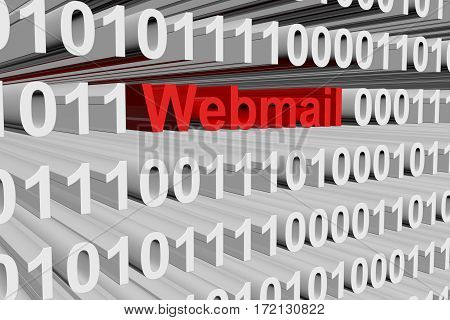 webmail in the form of binary code, 3D illustration