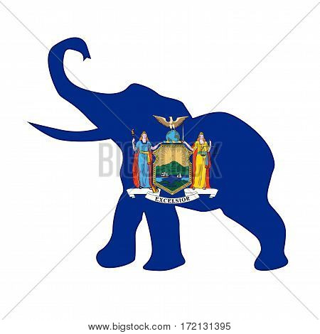 The New York Republican elephant flag over a white background
