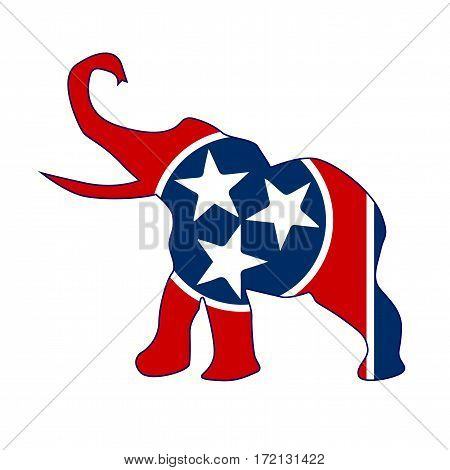 The Tennessee Republican elephant flag over a white background