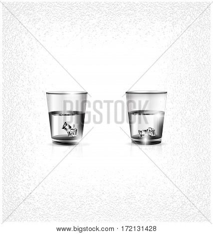 white background, two small glasses of strong alkoholic drink or water and ice cubes inside