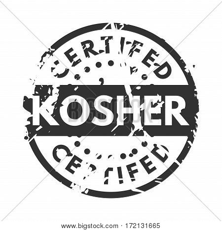 Vector retro kosher teal vintage stamp for quality mark. Premium guarantee old warranty badge. Grunge satisfaction shop tag design. Customer hand made artwork.