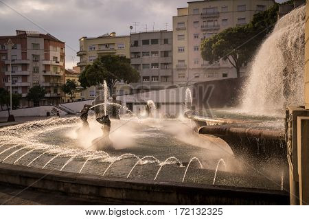 Fonte Luminosa luminous fountain on Alameda Park, Lisbon, Portugal