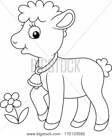 Black and white vector illustration of a cute little lamb walking