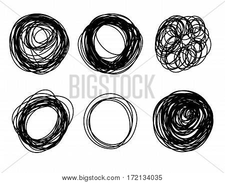 Hand Drawn Scribble Circle Border Elements. Vector Abstract Black Pencil Doodles Set Of Shapes, Fram