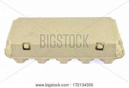 Egg paper pulp carton isolated on white background