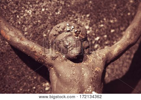 close up of statue the crucifixion of Jesus Christ