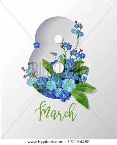 8 March greeting card with blue flowers bouquet in shape of number eight. Women Day holiday or springtime vector illustration