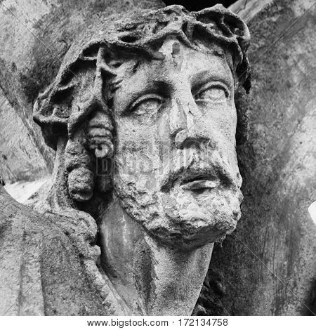 Jesus Christ crown of thorns at (fragment of statue)