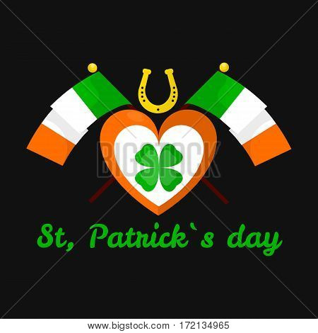 Lucky clover and horseshoe for Saint Patrick day. Irish holiday symbol of national flag and heart with shamrock. Traditional Ireland celebration feast vector icon