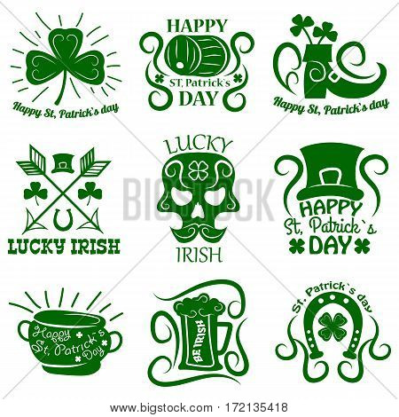 Saint Patrick symbols and logos set. Vector Leprechaun hat and gold pot, four-leaf clover leaf or lucky shamrock, horseshoe and Irish beer ale. Traditional design elements