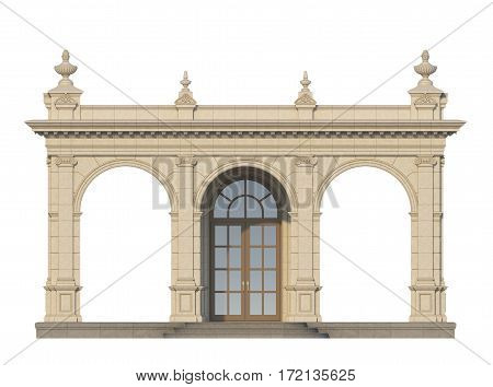 arcade from a stone with ionic pilasters on a white background. 3d render
