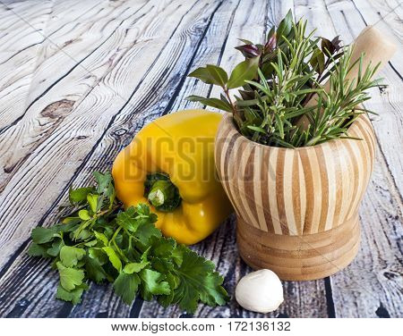 Parsley, Myrtle, Rosemary And Pepper