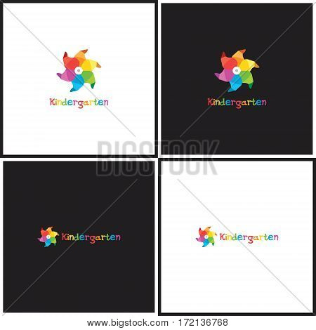 Vector eps logotype or illustration showing children education center with whirligig