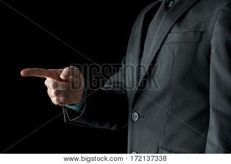 Man Pointing Forward With Finger