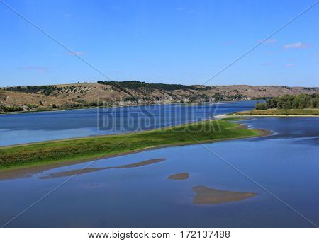 landscape with river sky green shores of the nature of Russia