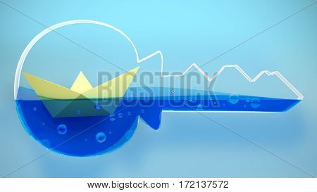 Paper folded boat sailing into a key. 3D Rendering. Concept illustration.