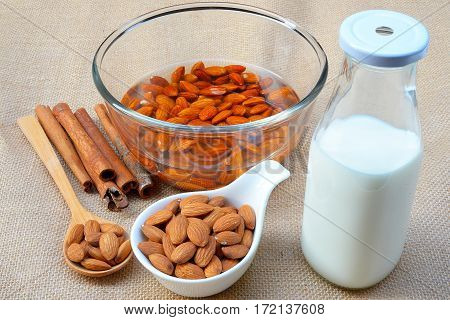 Soak the almonds in a bowl to make almond milk.