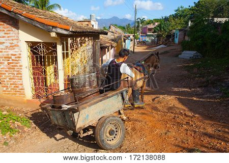 Trinidad Cuba - January 29 2017:The typical transportation materials in old colonial city Trinidad Cuba. (UNESCO World Heritage)