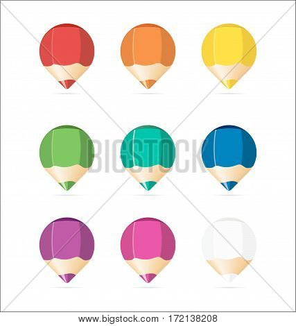 Set of Wooden Colored Pens. Colorful Web Stickers, Tags, Banners and Labels.