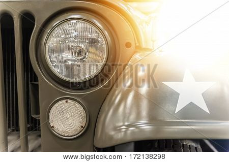 Closeup on a military car in the sunlight