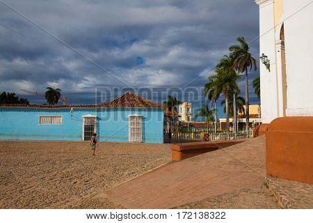Trinidad Cuba - January 30 2017: Plaza Mayor -Principal square of Trinidad. One of UNESCOs World Heritage sites since 1988. Sancti Spiritus Province Cuba.