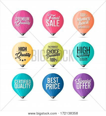 Set of Stickers Fine Colors. Promotional Badges and Sale Tags.