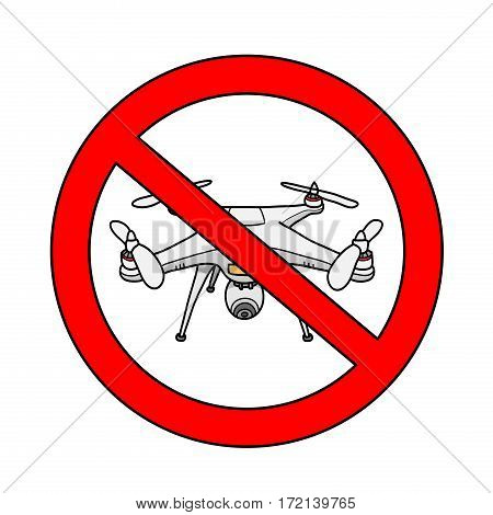 No Drone Area Sign, a hand drawn vector illustration of a no drone area sign.