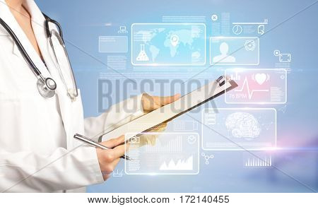 Female doctor holding notepad with blue background and informative graphs and charts