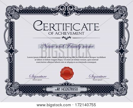 Antique Vintage Ornament frame Certificate of Achievement. Diploma.