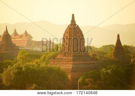 The Temples of Bagan, Pagan, Mandalay, Myanmar. BURMA