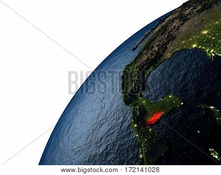 Belize In Red On Earth At Night