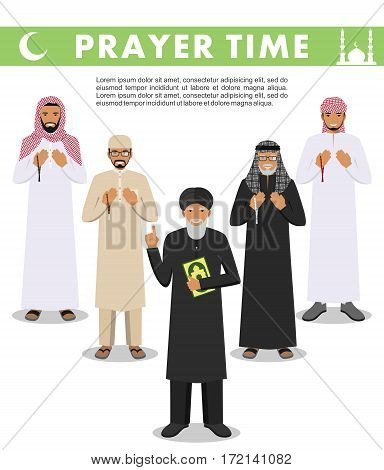 Islamic people standing together with beads in hands and pray. Mufti with quran.
