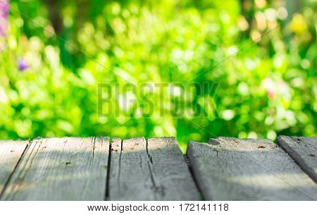 Sunny Green Nature Background And A Wooden Table, Selective Focus
