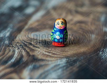 Macro shot of Russian traditional Doll Matrioshka, Matryoshka or Babushka.
