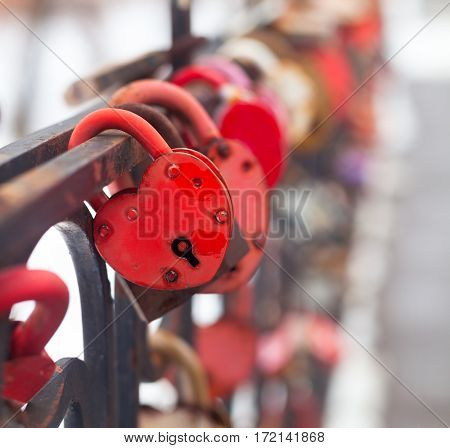 Vintage Colorful Padlocks Heart Shaped On Blurred Background, Symbol Of Love. Wnter-time.