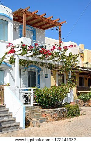 MAKRIGIALOS, CRETE - SEPTEMBER 18, 2016 - Traditional Greek houses Makrigialos Crete Greece Europe, September 18, 2016.