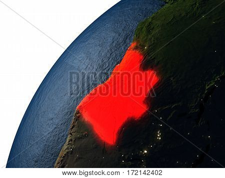 Angola In Red On Earth At Night